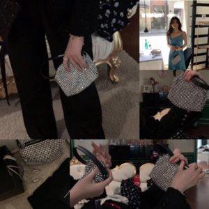 Lmoze хорошее тщеславие тщеславие сумочка сумка кошелек женщин коровьей вечера вечера кожаный дизайнер бриллиантов холст роскошный BB корпус Crossbody