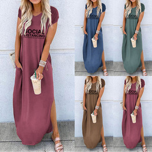 Women's Clothing Casual Dresses 2021 Spring Summer S-XL T-shirt Crew Neck Short sleeve split social print dress for women