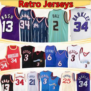 2 Lamelo Ball Allen 3 Iverson Basketbol Forması 34 Olajuwon 6 ERVING 34 Barkley 13 Nash 21 Embiid 25 Simmons Retro Basketbol Formaları