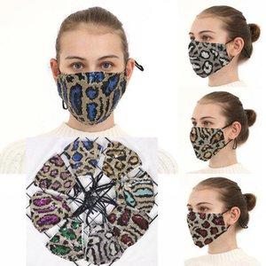 Женщины Sequin Mask Leopard Parted Designer 2021 Защитная Личность Моющиеся Мягкие Многоразовые Лицевые Рушиные Дышащие хлопковые маски