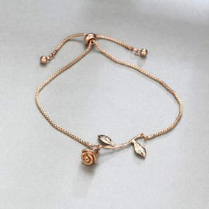 Link, Chain Gift, Fashion Rose Flower Charm Bracelet Ladies Girl And Adjustable Wedding Bridal Jewelry