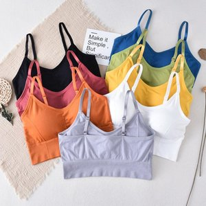 Tizhan Colorful Crop Top Underwear Beauty Back Seamless Tee Brasserie Breathable Bra School Tank Tops