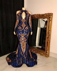 Royal Blue Sequined Prom Dresses 2021 Sexy High Neck Long Sleeve Gold Sequin Black Girls Mermaid Style Gala Party Dress Evening Wear