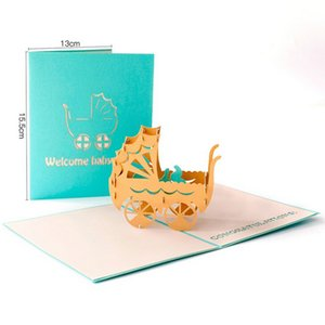3D Laser Cut Handmade Carving Newborn Baby Party Paper Invitation Greeting Cards PostCard Baby Boy Girl Birthday Creative Gift