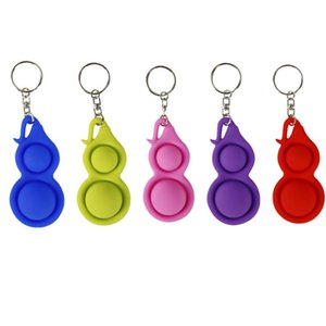 2021 Push Pop Autism Stress Relief Kids Keychain Office Worker Desk Toys Mini Brain Toys Simple Dimple Fidget Key Ring Toys