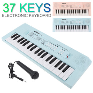37 Keys Electronic Keyboard Piano Digital Music Key Board with Microphone Musical Enlightenment Pink and Blue 2 Colors Optional