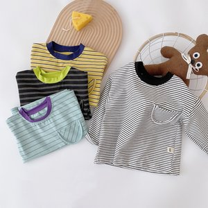 XZXY Korean Quality INS Kids Little girls Boys Tees Pockets Long Sleeve Stripes T-shirt Summer Fashion Pure Cotton Girls Tops for 1-7T