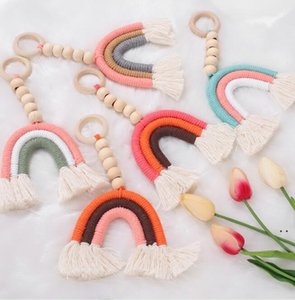 Wooden Beads Tassel Pendant Decor Baby Room Wedding Decoration Nordic Wall Hanging Ornament For Photography Props Rainbow shape HWB5129