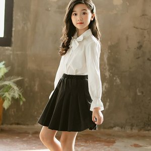 Shirts White Flare Long Sleeve Girls School Blouses Clothing Kids Casual 2021 Spring Bow Cotton Tops Clothes Infant Blouse Girl