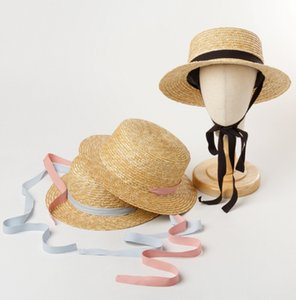 2021 Summer girls straw sunhat kids ribbon lace-up princess hat children ceiling beach holiday outdoor sunhat visor A5796