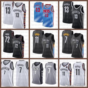 2021 New Basketball Jersey BrooklynNet Mens Kevin James 13 Harden 7 Durant Kyrie 72 Biggie 11 Irving Army Green