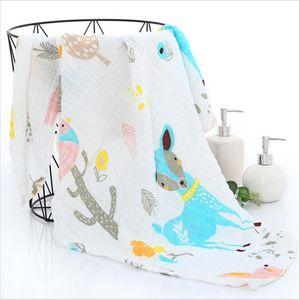 Baby Blankets Newborn Muslin Cotton Blankets Unicorn Pattern Multi-use Newborn Swaddle Infant Gauze Bath Towel Baby Warp Swaddle 210317