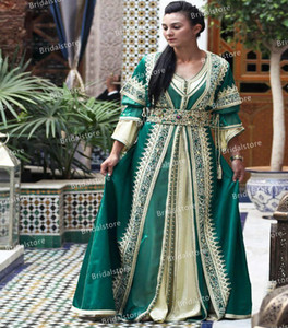 Emerald Green Oriental Morrocan Kaftan Evening Dresses 2021 Vintage V Neck Gold Appliques Silk Satin Long Sleeve Prom Dress Wear Party Gowns