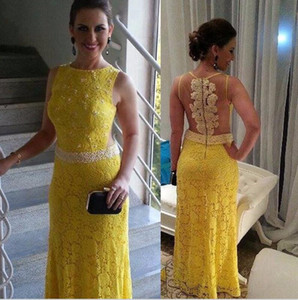 Vestido De Gala Whole Lace Yellow Long Dress Evening Dresses Pearls Sleeveless Modest Long Gowns Dress Custom Made