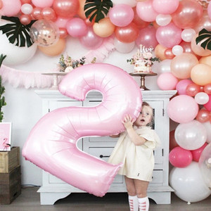16inch Air Digit Figure Pink Number Foil Balloon Girl Birthday Party Decorations Kids Baby Shower Wedding Balloons