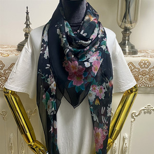 New style women's square scarf scarves 100% silk material black color pint flowers pattern size 130cm - 130cm