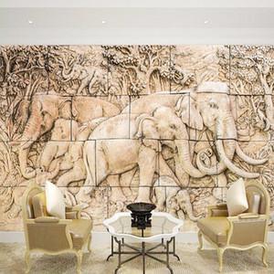 Papier peint mural de mur de familles d'éléphant sur mesure pour salle de séjour Canapé Fond 3D mural mural grand photo