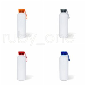 Sublimation Blank Tto Motion Kettle 750ML Boy Girls Colour Silicone Transparent Cover Aluminum Water Bottles DIY sea shipping RRD4976