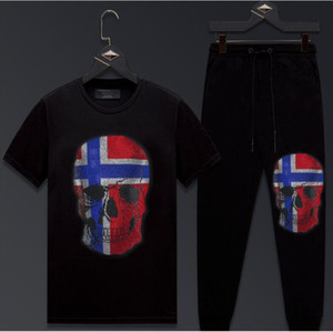 2021 Новый летний трексуит набор с короткими рукавами футболки + спортивные штаны бега.