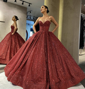 Burgudy Sequins Quinceanera Dresses 2021 Sweet-heart Ball Gown Sweet 16 Party Dresses Prom Gowns Pockets Vestidos De 15