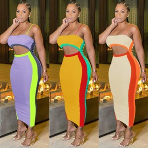 Contrast Color Spliced Sexy Pencil Dresses Women Spaghetti Strap Waist Band Cut Out Vestidos Elegant Backless Long Party Dress