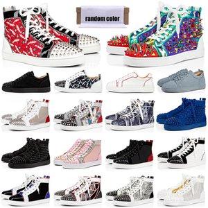 مصمم أحذية الرجال النساء أحذي red bottoms chaussures رصع سبايك الثلاثي أسود أبيض جلد الغزال شقة عارضة الأحذية 36-47 خمر