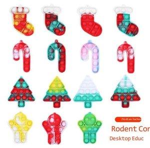 Christmas Theme Push Bubble Fidget Simple Key Ring Finger Puzzle Toys Xmas Stocking Tree Gift Socks Silicone Bubbles Popper Desktop Early Education G83RAB6