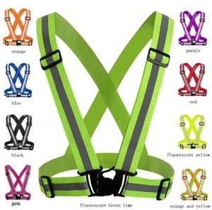 Adjustable Men Women Reflective Vest Safety Security Tape High Visibility Gear Stripes For Hiking Running Bicycle Walking 4x1.5cm 10pcs