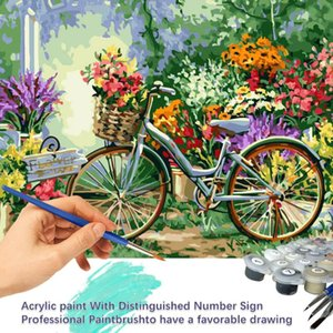 Paintings Flowers And Bike Picture By Numbers Home Decor Acrylic Oil Coloring Set For Adult With Brushes Malowanie Po Numerach