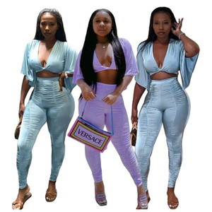 Femme Women Two Piece Set Crop Tops+Pants Pleated trousers Suits Sportwear Herm Bodycon Tracksuit Jogging Femme Sets