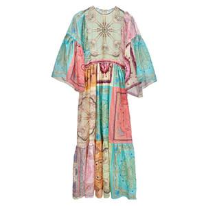 Yeni Seksi Kadın Pist Elbiseler Ekip Boyun 3/4 Uzun Kollu Ince Elbise Yüksek Kalite Kadın Flora Baskılı Milan Pist Parti Elbiseler E29