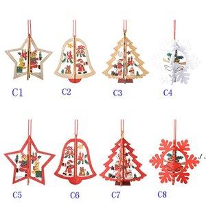 Christmas Decoration Wooden Xmas Tree Hollow Hanging Pendants Ornaments For Creative Cartoon Santa Clause Snowman Ornament DWF11026