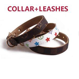 10 Colors Dog Collars Classic Print Designer Pet Leashes Indoor Outdoor Durable PU Collar Leash Set