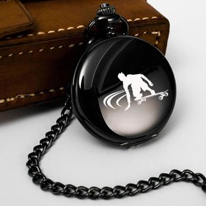 Pocket Watches Boy Skateboarding Engrave Text Gifts For Man Clock Fob Chain Smooth Steel Watch Vintage Roman Number Dial Pendant