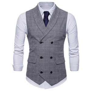 Men's British Casual Suit Waistcoat Male Double Breasted Vest Man Mens Tops Clothing Dress Slim Fit Gilet Homme