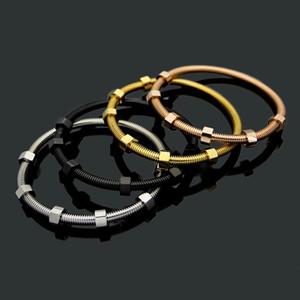 Fashion Hot Sale Men Lady Titanium Steel Six Screw Caps 18k Gold Plated Lovers Bracelet Bangle 4 Color