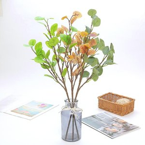 Artificial Long Pole Eucalyptus Leaves Branch Plants Money Leaf Fake Plants Bouquet Flower Wall Wedding Shooting Prop Home Decor