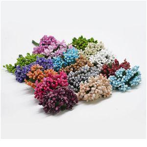 12pcs lot Handcraft Artificial Flowers Stamen Sugar Wedding Party Decoration Diy Wreath Gift Box Scrapbooking Cheap Fake jllnnz