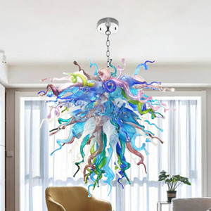 Arco iris soplado vidrio lámpara de araña multicolor cadena colgante colgante iluminación led energía ahorro de energía para sala de estar decoración de arte