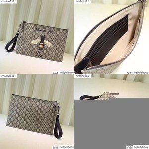 473904 Celebrity Design Letter Embroidery Bee Tiger Clutch Genuine Leather Canvas Handbag