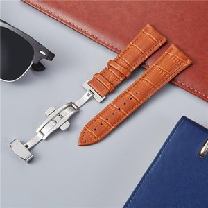 Watch Bands Bamboo Patter Genuine Leather Watchband Embossed Watchbands With Butterfly Buckle Replace Straps 18mm 20mm 22mm 24mm