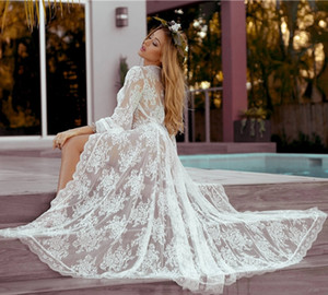 2021 New Boho v Neck Long Sleeves Lace Beach Wedding Gown Cheap Illusion A-line Bride Es Wljt