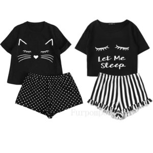 Womens Sleepwear Women Cute Cat Cartoon Print Short Set Pajamas For Summer Pajama Sweet Sleeve T Shirts Letter Shorts Pijama
