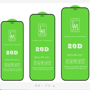 20D الزجاج المقسى لفون 12 برو 6.1 ماكس 6.7 حامي الشاشة مصغرة XS 7 8 8 زائد المضادة للبصمة 9 h
