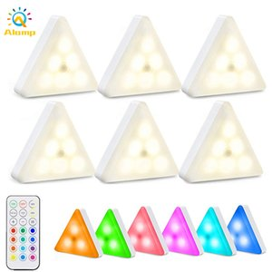 RGB Night Light Dimmable Timing 16 colors Cabinet Lights Battery Operated Touch Quantum Triangle Wall Lamp