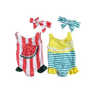 One-Pieces Baby Girls Summer Bodysuit Swimsuit, Sleeveless Fruit & Stripe Print U-shaped Neck Ruffle Swimwear + Headband 3-24Months