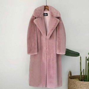 2021 New Women Winter Warm Faux Fur Coat Thick Women Long Coat Turn Down Collar Warm Casaco Feminino