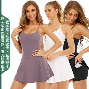 Tracksuits Sport Suit Lulu Naked Feeling Pocket Sling Light Proof Yoga Fitness One Piece Sports Skirt Quick Drying Elastic Golf Tennis