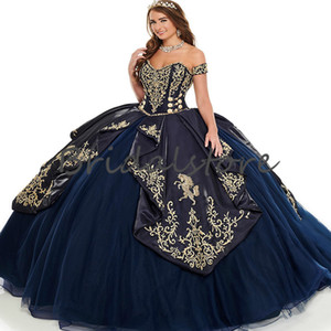 Cinderella Red Quinceanera Dresses And Gold Embroidery 2021 Ball Gown Poofy Princess Sweets 15 Years For young Girls Prom Formal Party Dress