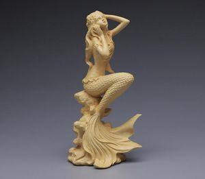 Mermaid Statue Sculpture Hand Carved Wood Carving Vintage Folk Natural wood Boxwood Statue figures Handmade Wooden cute tea pet